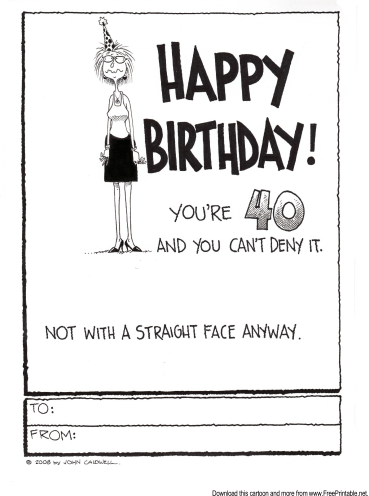 Inventive image with regard to printable 40th birthday cards